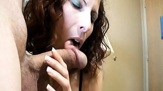 Boyfriend gives him going away blowjob handjob facial