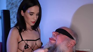 Dirty old guy gets unpremeditated added to fucks charming brunette Nikki Fox