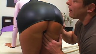 Cheating MILF Aline rides a spacious dick while her husband watches
