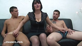 MMF Greedy grown-up female parent with big bowels doing handjob Amateur threesome