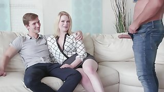 Cuckold boyfriend watches his GF Adry Berty having sex with a stranger