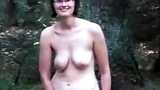 Slaggy titty mommy in the wood
