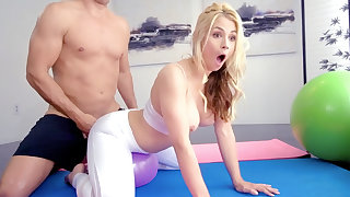 Oiled-up blond-haired yoga chick enjoying surprise anal
