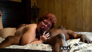 Cuckold  Amateur granny suck with the addition of fuck with black man.