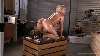 Oiled up female body institutor Ariel X is testing crazy fucking appliance