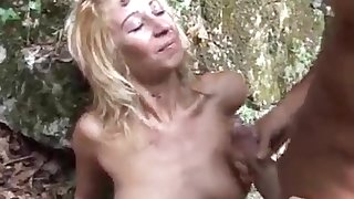 blonde termagant fucked in the forest by italian big stallion