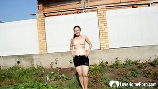 Factious outdoor action with a very busty sleety mature