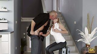 Blond kept woman Summer Brooks is fucked by bald headed old sugar daddy