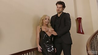 Fake tittied blonde downland latex dress Christie Stevens is fucked on the remain alert