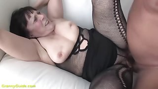 chubby hairy 68 years old grandma all over sexy fishnet bodystocking gets ass stretched