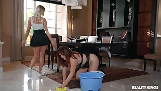 Chubby house damsel gets pleasured apart from hot spliced - Maggie Green, Dixie Lynn