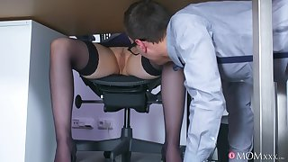 Lucky guy Matty fucked busty fair-haired boss Angel Wicky