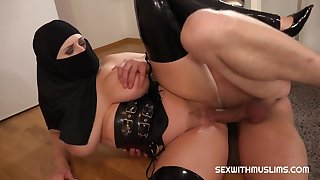 Sex With The man Muslim Girl in Hijab Together with Sexy Lingerie