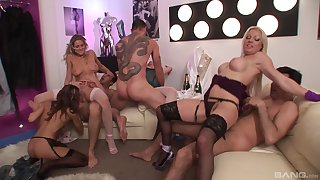 Sexy MILFs in group orgy corporation a bunch of gungy dicks